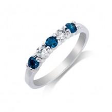 14K White Gold 0.50ct White & Blue Diamond Women's Wedding Band