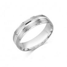 14K White Gold Comfort Feel Engraved Men's Wedding Band