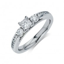 14K White Gold 0.38ct Diamond Melee And 0.33ct Round Center Diamond Engagement Ring