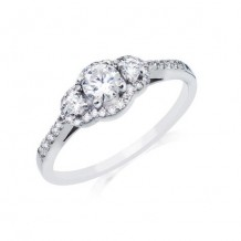 14K White Gold 0.32ct Diamond Melee And A 0.33ct Round Center Diamond Engagement Ring