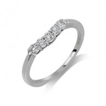 14K White Gold 0.25ct 5 Stone Diamond Contour Women's Wedding Band