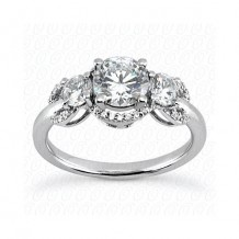 14k White Gold Diamond Semi-Mount 3 Stone Engagement Ring