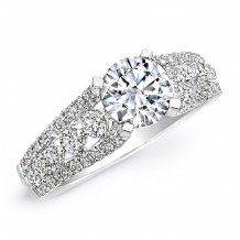 18k White Gold Diamond Prong Engagement Semi Mount Ring