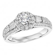 14k White Gold 3/4ct Diamond Engagement Ring with 1/2ct Center Stone