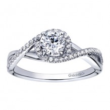 14k White Gold 0.15ct Diamond Gabriel & Co Criss Cross Semi Mount Engagement Ring