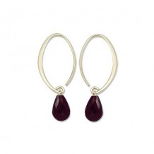 14Ky Mini Simple Sweep Garnet Hoop Earrings