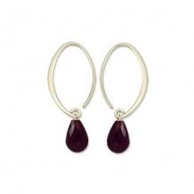 14Ky Mini Simple Sweep Garnet Hoop Earrings