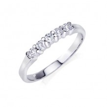 14K White Gold 0.25ct 5 Stone Shared Prong Die-Struck Diamond Women's Wedding Band