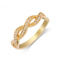 14K Yellow Gold 0.01ct Infinty Stack Diamond Women's Wedding Band
