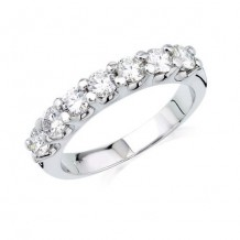 14K White Gold 1ct 7 Stone Shared Prong Die-Struck Diamond Weeding Band