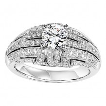 14k White Gold 1/2ct Diamond Engagement Ring with 5/8ct Center Stone