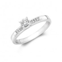 10K White Gold 0.04ct Diamond Melee And 0.10ct Round Center Diamond Engagement Ring