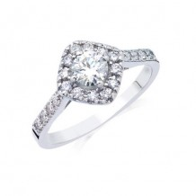 14K White Gold 0.36ct Diamond Melee And 0.40ct Round Center Diamond Engagement Ring