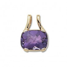 14K Yellow Gold 16X12 Cushion Amethyst Pendant