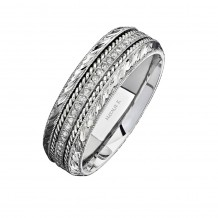 14k White Gold Detailed Pave Round Diamond Men's Band