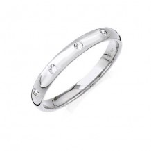 14K White Gold 0.10ct Burnished Set Diamond Women's Wedding Band