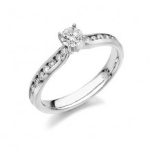 14K White Gold 0.24ct Diamond Melee And Round Center Diamond Engagement Ring