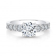 18k White Gold Prong and Bezel Set Round Diamond Engagement Ring