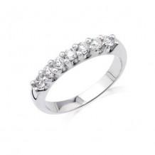 14K White Gold 0.50ct 7 Stone Shared Prong Die-Struck Diamond Women's Wedding Band