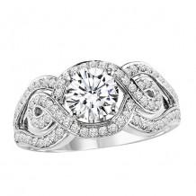 14k White Gold 3/8ct Diamond  Semi Mount Engagement Ring