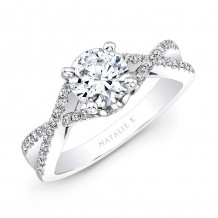 14k White Gold Twisted Split Shank Diamond Engagement Semi Mount Ring