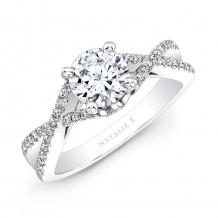 14k White Gold Twisted Split Shank Diamond Engagement Semi Mount Ring