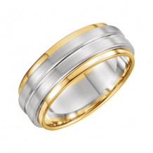 Stuller 14k Two Tone Gold Grooved Flat Edge Wedding Band