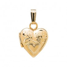 14K Yellow Gold engraved Heart Child's Locket