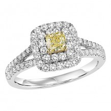 14k White Gold 1ct Diamond Engagement Ring with Yellow Center Stone