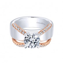 Gabriel & Co 18k Two-Tone Gold Straight Diamond Engagement Ring
