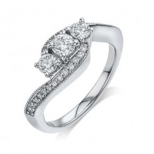 14K White Gold 0.50ct Diamond Melee And A 0.25ct Round Center Diamond Engagement Ring