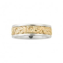 Camelot 14k White Gold Engraved Encompassing Wedding Band