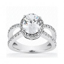 14k White Gold Diamond Semi-Mount Halo Engagement Ring