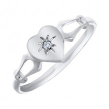 14K White Gold Diamond Heart Child's Ring