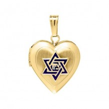 14K Yellow Gold enamel Pantograph Star of David and Heart Child's Locket