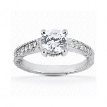 14k White Gold Diamond Semi-Mount Antique Engagement Ring