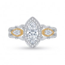Shah Luxury 18k Two-Tone Gold Diamond Carizza Semi Mount Engagement Ring fit Marquise Center