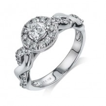 14K White Gold 0.38ct Diamond Melee And Semi-Mount Halo Engagement Ring