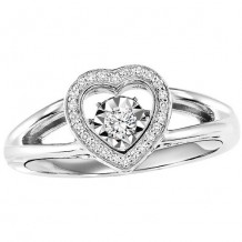 Sterling Silver 1/6ct Diamond Rhythm Of Love Ring