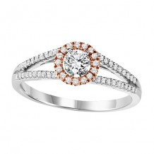 14k White Gold 1/5ct Diamond Engagement Ring with 1/4ct Center Stone