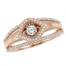 14k Rose Gold 1/4ct Diamond Rhythm Of Love Ring