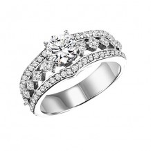 14k White Gold 1ct Diamond  Semi Mount Engagement Ring