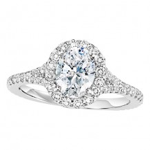 14k White Gold 1/2ct Diamond Engagement Ring with 1 1/2ct Oval Center Stone