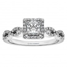 Platinum 0.33ct Diamond Halo Semi Mount Engagement Ring