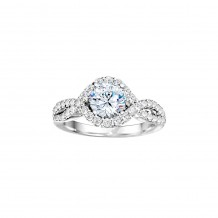 Platinum 0.74ct Diamond Halo Semi Mount Engagement Ring