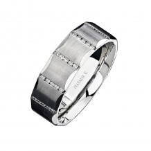 14k White Gold Channel Round Diamond Men's Band