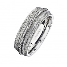 14k White Gold Pave Diamond Edge Men's Band