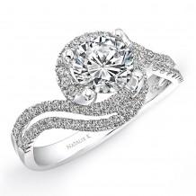 18k White Gold Halo Diamond Split Swirl Shank Engagement Semi Mount Ring