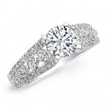 18k White Gold Diamond Prong Engagement Semi Mount Ring