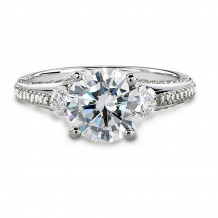 18k White Gold Classic Three Stone Diamond Engagement Semi Mount Ring